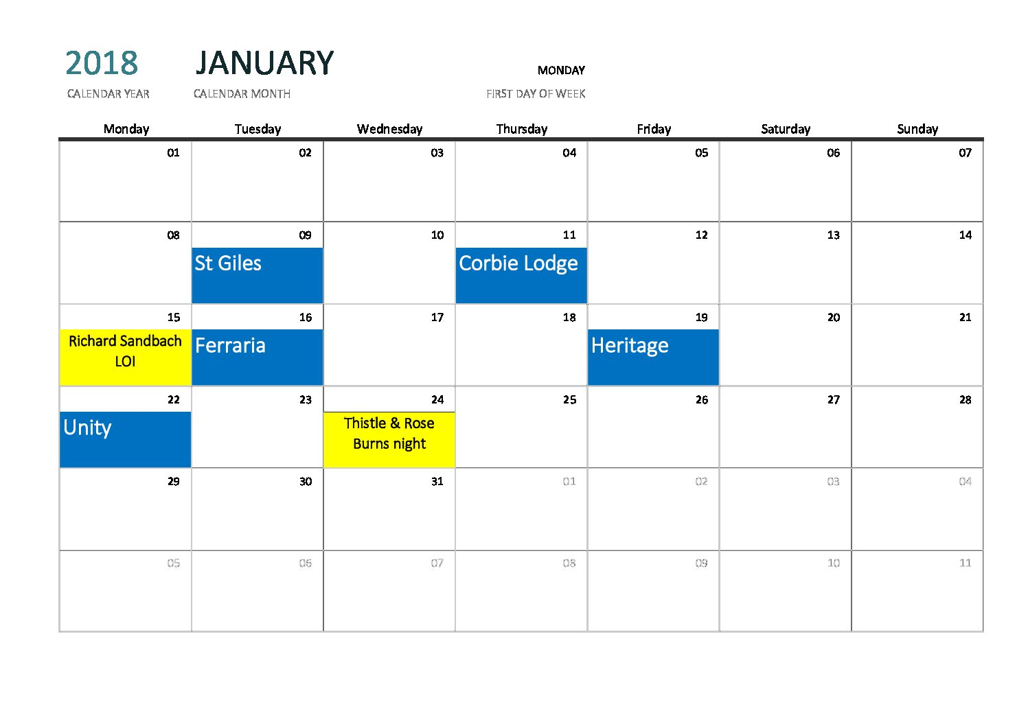 January Highlights at the Corby Masonic Complex.